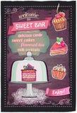 Sweet candy bar chalkboard menu design. Stock Photos