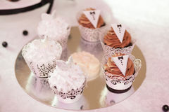 Sweet candy bar set at wedding ceremony, confectionery. Stylish sweet candy bar set at the wedding ceremony, confectionery. Selective focus royalty free stock image