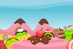 Candy Land Video Game Background. Sweet candy and cake land for creating 2d video game background Royalty Free Stock Photos