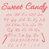 Sweet Candy. Candy Cane Alphabet. Christmas striped alphabet letters. Hand written alphabet from A to Z Vector illustration Stock Images