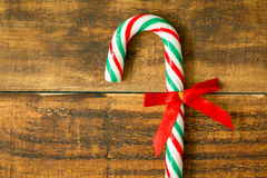 Sweet Candy Canes with red ribbon Stock Photos
