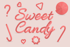 Sweet Candy. Christmas striped candy letters. Vector illustration stock illustration