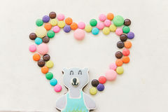 Sweet Candy decorate in heart shape and bear cookie, instagram filter. Can use for background, card , wedding card , textbox, etc. Royalty Free Stock Photos