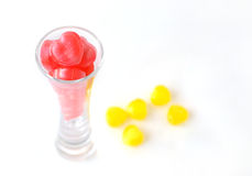 Sweet candy in a glass. Heart shape candy in a glass , gift for Valentine's day Stock Images