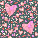 Sweet candy and hearts. Pattern of sweet candy and hearts for Valentines Day Stock Photos