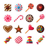 Sweet candy icons, chocolate shapes, vector icons set Royalty Free Stock Images