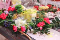 Sweet candy in a jar on baby party royalty free stock photo