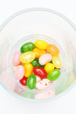 Sweet candy jelly beans in glass this colorful. Delicious Stock Photo