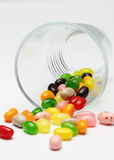 Sweet candy jelly beans in glass this colorful. Delicious Royalty Free Stock Images