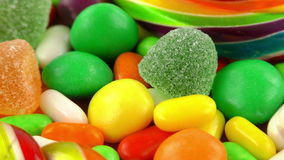 Sweet Candy Jelly Bonbon Lollipop Mixed of Snack Sugar Food stock footage