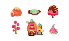 Sweet candy land, cute cartoon fantasy elements for mobile game design interface, sweet plants, trees, gingerbread house. Vector Illustration isolated on a royalty free illustration