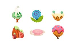 Sweet candy land design elements, cute cartoon fantasy plants for mobile game interface vector Illustration on a white. Sweet candy land design elements, cute royalty free illustration