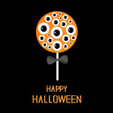 Sweet candy lollipop with eyeball set. Black bow. Happy Halloween card. Flat design Stock Photo