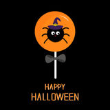 Sweet candy lollipop with spider in witch hat. Black bow. Happy Halloween card. Flat design Stock Images
