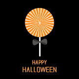 Sweet candy lollipop with starburst pattern. Black bow. Happy Halloween card. Flat design Royalty Free Stock Images