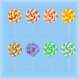 Sweet candy lollypop set on the light blue background, Vector illustration vector illustration