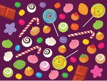 Sweet Candy, Meringue, cookies and Chocolate Vector Illustration. For any purpose and media such as cover and illustration book, wallpaper, website, blog, print Royalty Free Illustration
