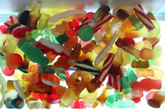 Sweet Candy Mix. A mixture of sweets in close up royalty free stock images