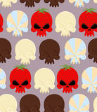 Sweet candy skulls seamless pattern. Head skeleton made of choco Royalty Free Stock Image