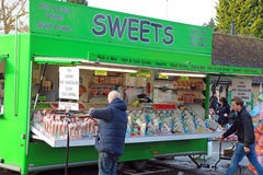 Sweet or candy stall. A mobile stall at an event selling candy or sweets. this stall was in Harrold, United Kingdom at a street fair royalty free stock photo