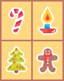 Sweet Candy Stick, Burning Candle, New Year Tree. And gingerbread boy set of vector icons in Merry Christmas concepts, color stickers in cartoon style Royalty Free Stock Images