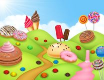 Sweet candyland with cupcake, ice cream, donut, and lollipop Stock Photo