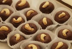 Sweet candys with nuts Stock Images
