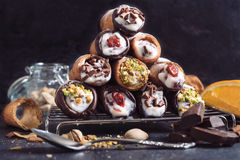Sweet cannoli Stock Photography