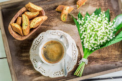 Sweet cantucci with coffee Stock Photos