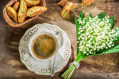 Sweet cantucci with espresso Royalty Free Stock Images