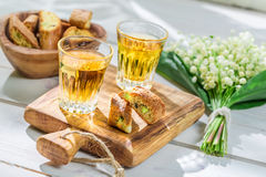 Sweet cantucci with Vin Santo Stock Images