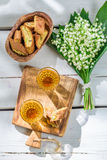 Sweet cantucci with wine Stock Photos