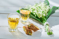 Sweet cantuccini with wine Stock Photography