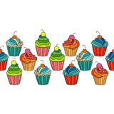 Sweet cape cakes seamless pattern on white background. Royalty Free Stock Photography