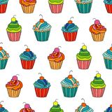 Sweet cape cakes seamless pattern on white background. Textile rapport Stock Photography