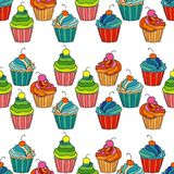 Sweet cape cakes seamless pattern on white background. Textile rapport Stock Images