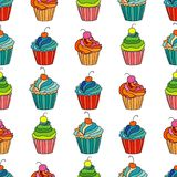 Sweet cape cakes seamless pattern on white background. Royalty Free Stock Photo