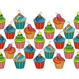 Sweet cape cakes seamless pattern on white background. Stock Photo
