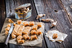 Sweet caramel candies with sesame Stock Photography