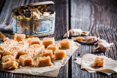 Sweet caramel candies with sesame Royalty Free Stock Image
