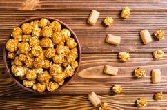 Sweet caramel popcorn stock image