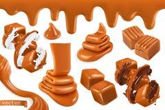 Sweet caramel, set 3d vector illustration. Sweet caramel, set realistic 3d vector illustration royalty free illustration