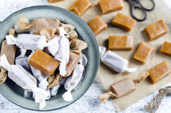 Sweet caramel toffee caramels stock images