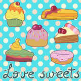 Sweet card. The card design with sweets and polka dot background Vector Illustration