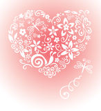 Sweet card with a heart. Vector illustration - tender floral heart stock illustration