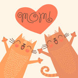 Sweet card for Mothers Day with cats Stock Image