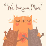 Sweet card for Mothers Day with cats Stock Images