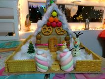 Candy house. Sweet cardbord gingerbread house royalty free stock images