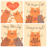 Sweet cards for Fathers Day with cats Royalty Free Stock Photo