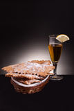Sweet Carnival Fritters And Limoncello Liquor Stock Photography